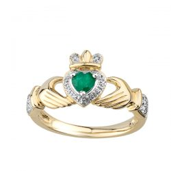 Gold Claddagh ring with Emerald and Diamond