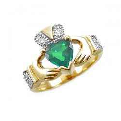 Claddagh Engagement Ring with Emerald and Diamond
