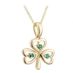 Gold Shamrock Necklace with Emeralds