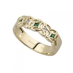 Trinity Knot Ring with diamond and Emerald in 14K gold