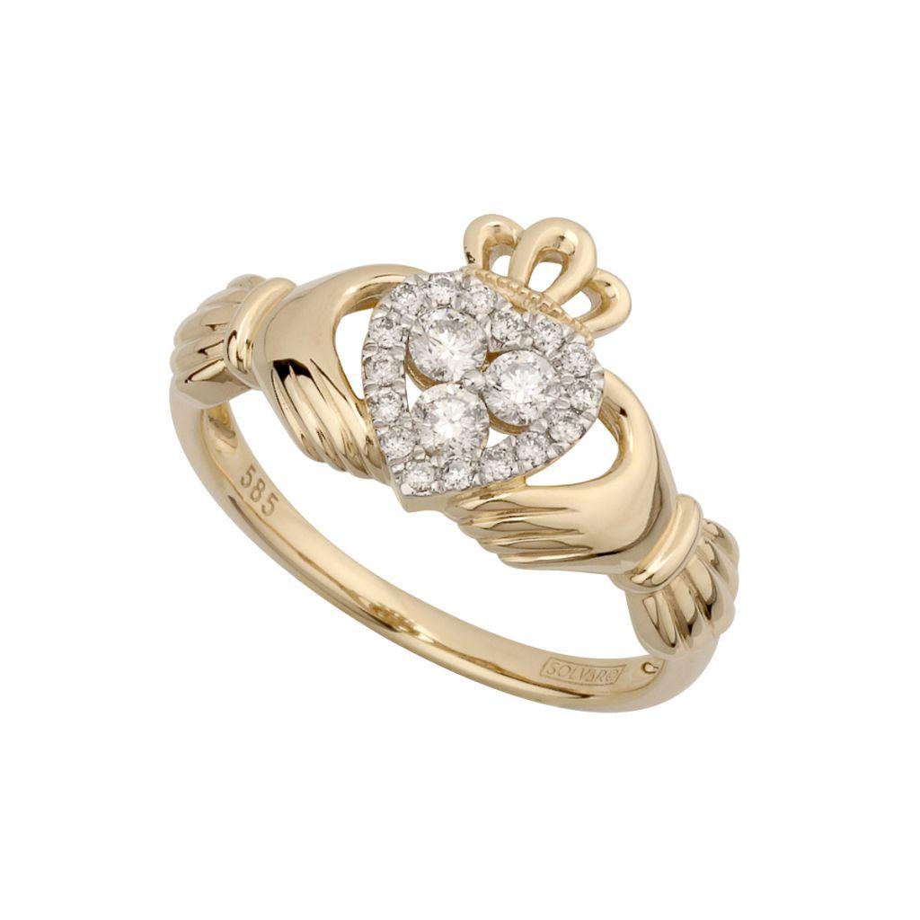 14k diamond cluster claddagh ring solvar. Black Bedroom Furniture Sets. Home Design Ideas