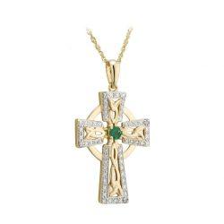 Solvar 14K Gold Emerald and Diamond Celtic Cross