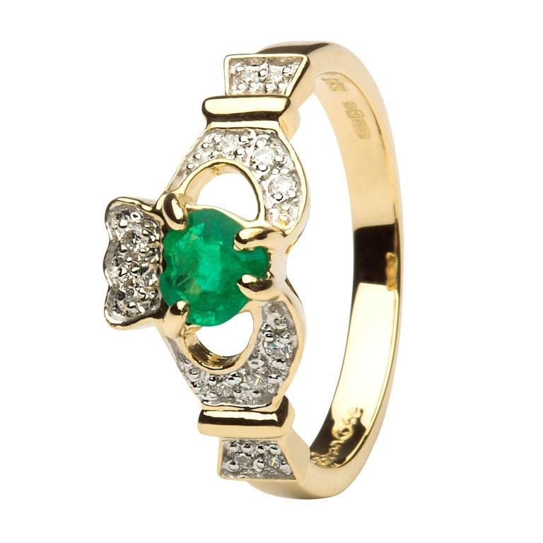 14k gold emerald diamond claddagh ring. Black Bedroom Furniture Sets. Home Design Ideas