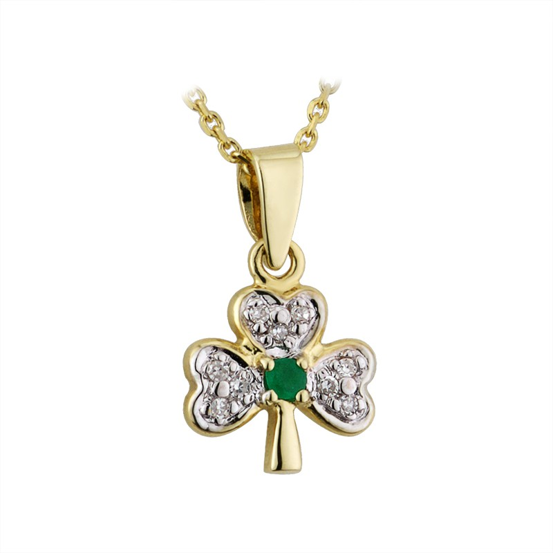 14k gold emerald diamond shamrock pendant solvar fallers 14k gold emerald diamond shamrock pendant aloadofball Images