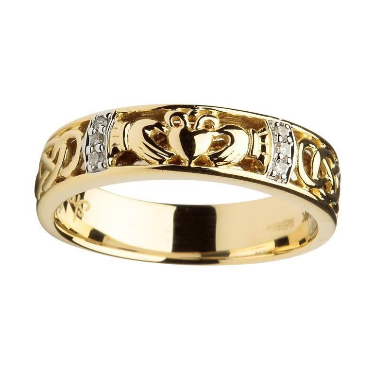 14k gold ladies diamond claddagh celtic ring fallers. Black Bedroom Furniture Sets. Home Design Ideas