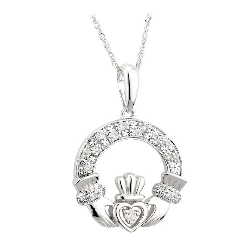 14k white gold diamond claddagh pendant fallers fallers 14k white gold diamond claddagh pendant aloadofball Image collections