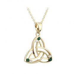 Solvar Emerald Gold Celtic Knot Necklace