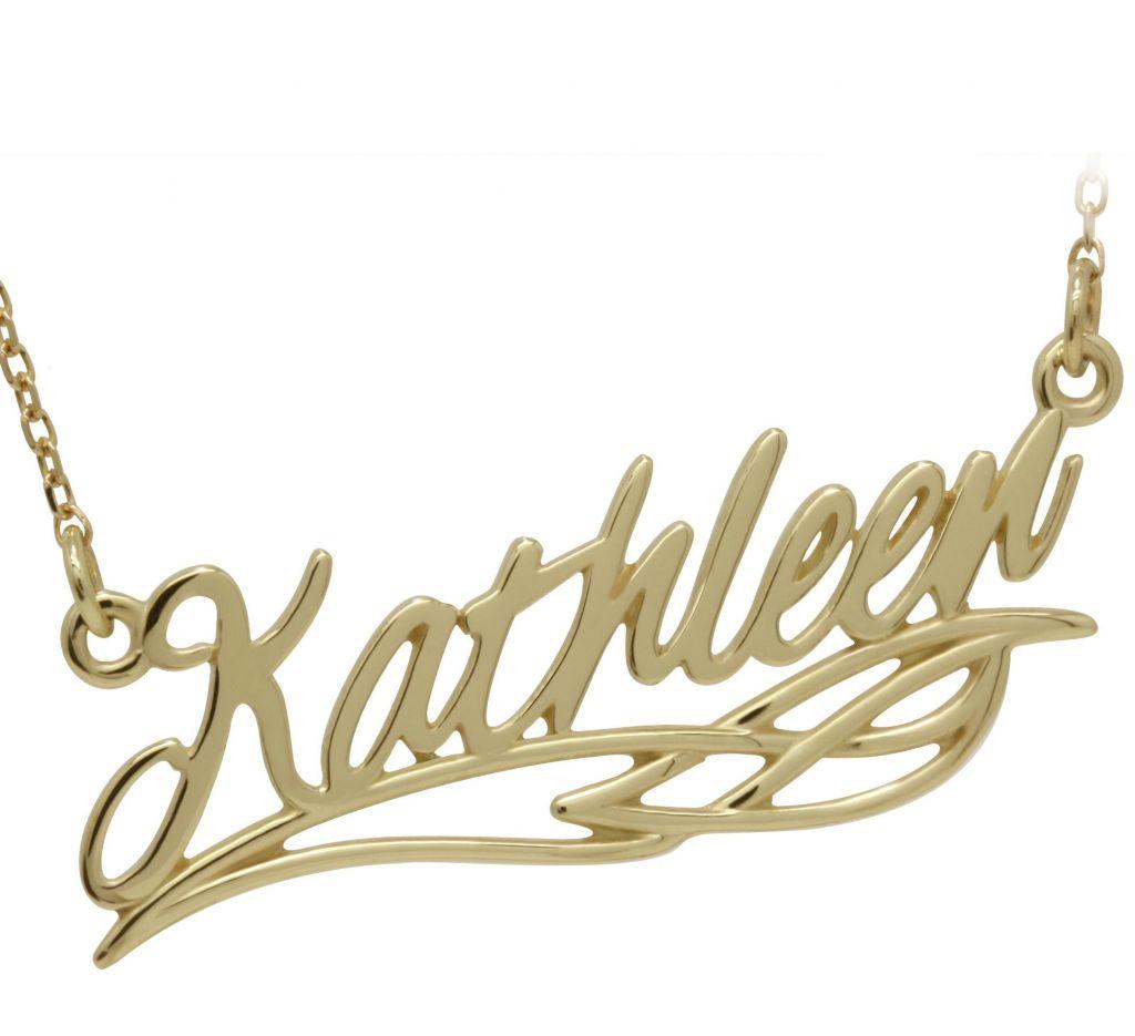 9K Filigree Celtic Name Necklace