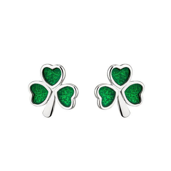 b9f37d67b Silver Green Shamrock Earrings   Solvar   Fallers.com - Fallers ...