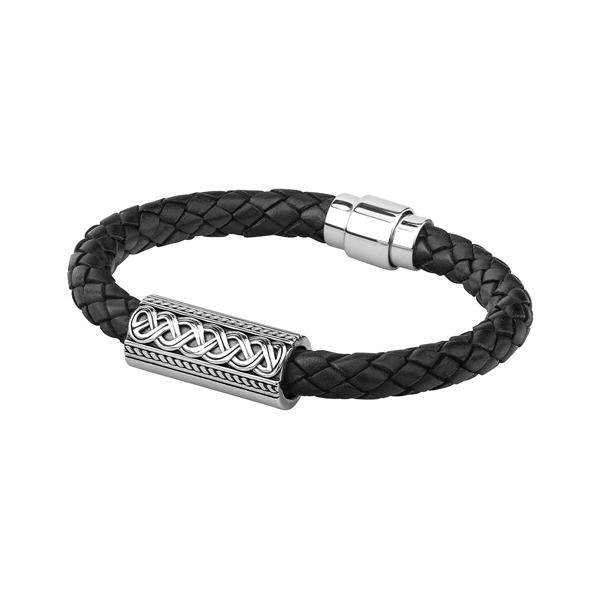 Men S Silver Celtic Knot Leather Bracelet Solvar