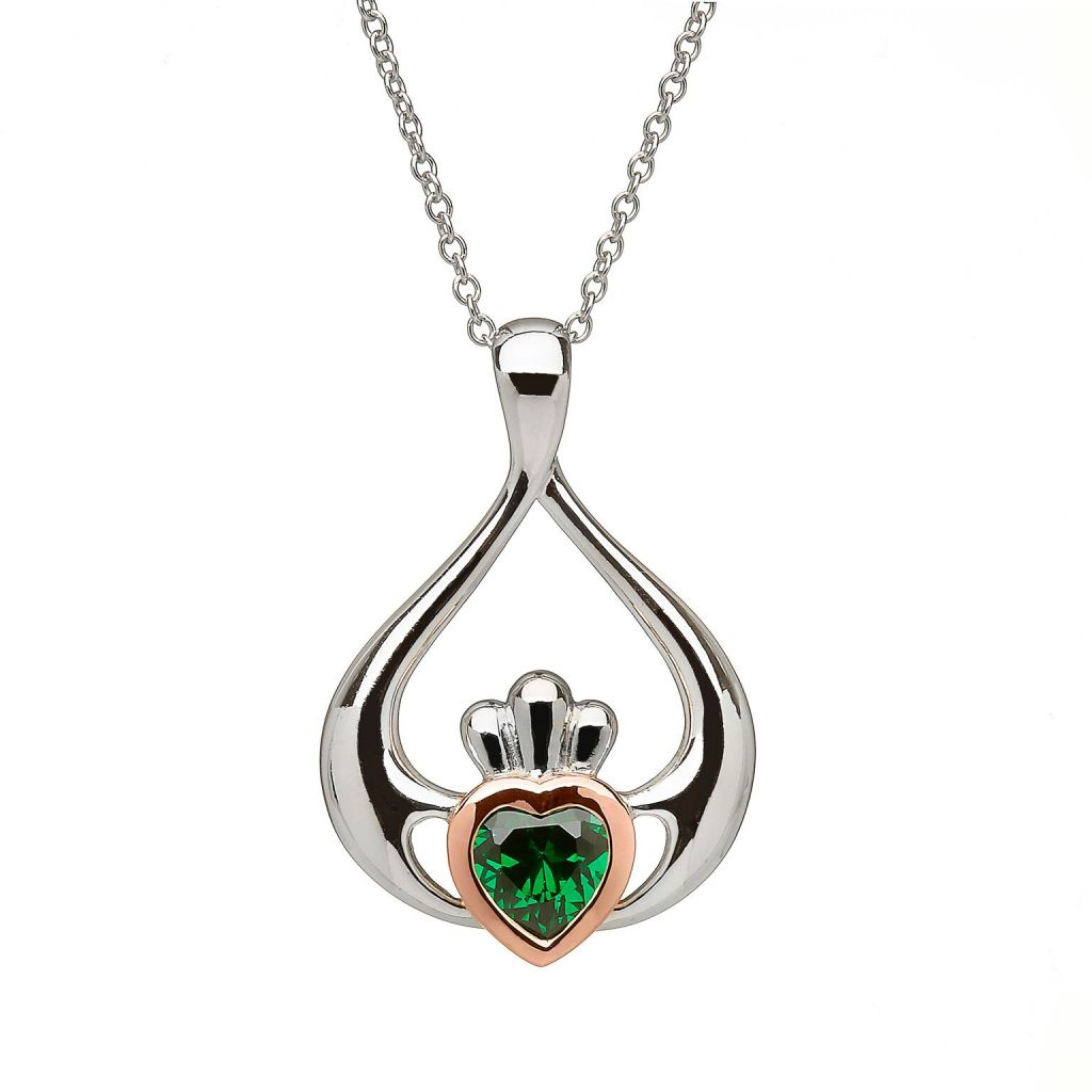 with pendant pattern cz necklace chain e knot pendants necklaces initial in sterling celtic silver claddagh