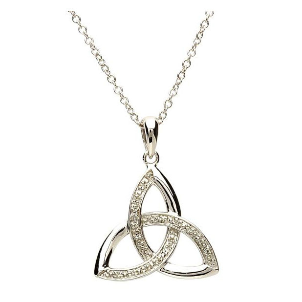 Sterling Silver Diamond Trinity Knot Pendant Shanore Fallers