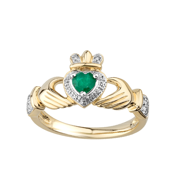 Engagement Rings Galway: Claddagh Emerald & Diamond Gold Engagement Ring