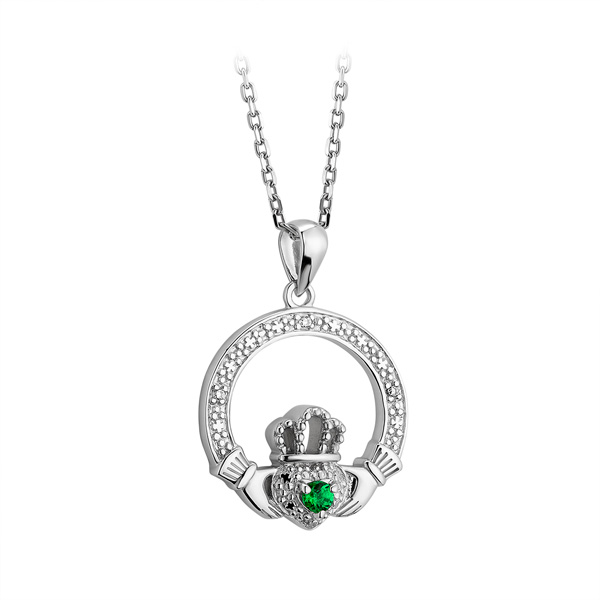 Silver with White and Green CZ Claddagh Irish Necklace