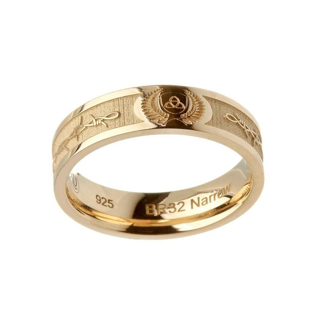 14k Gold Barbed Wire Trinity Knot Ring Boru Fallers Com Fallers Irish Jewelry