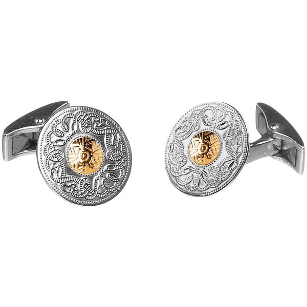 celtic warrior cufflinks sterling silver with 18K gold disc