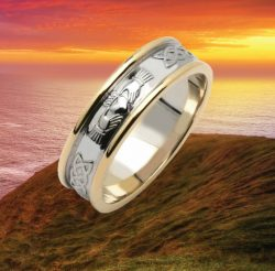 Mens Claddagh and Celtic Wedding Ring