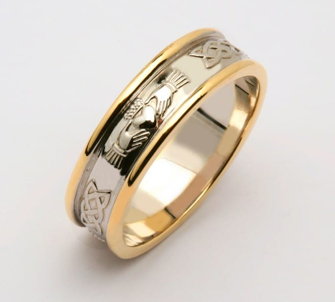 14K Two-Tone Gold Over Womens Claddagh Engagement Wedding Band Ring