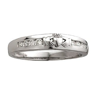 Claddagh Diamond Eternity Ring in 14K White Gold