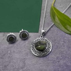 Celtic Connemara Marble Pendant and Matching Earrings