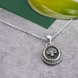 Silver Shamrock Connemara Marble Marcasite Pendant