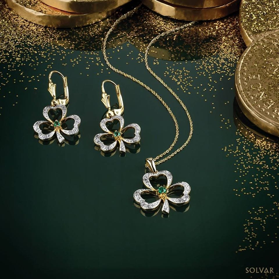 Diamond & Emerald Celtic Shamrock Necklace & Earrings Crafted from 14K Gold