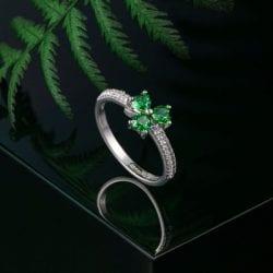 Shamrock Celtic Ring Sterling Silver Cubic Zirconia
