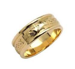 Claddagh Wide Wedding Ring in 14K Gold