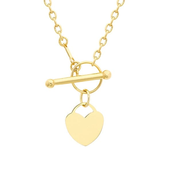 9ct Yellow Gold 12mm x 13mm Heart Charm T-Bar Necklace