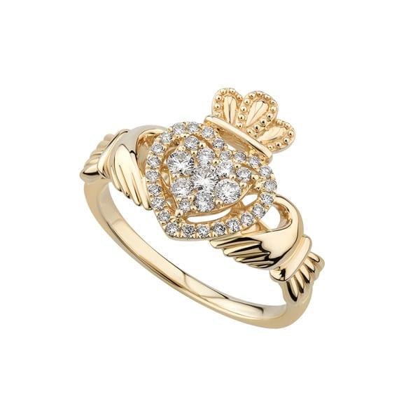 Gold Irish Claddagh Ring Customize: 14k,18k Crown Ring 9K Yellow Gold Sapphire Claddagh Ring Irish Claddagh Ring