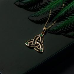 Trinity Knot Emerald & Diamond Pendant