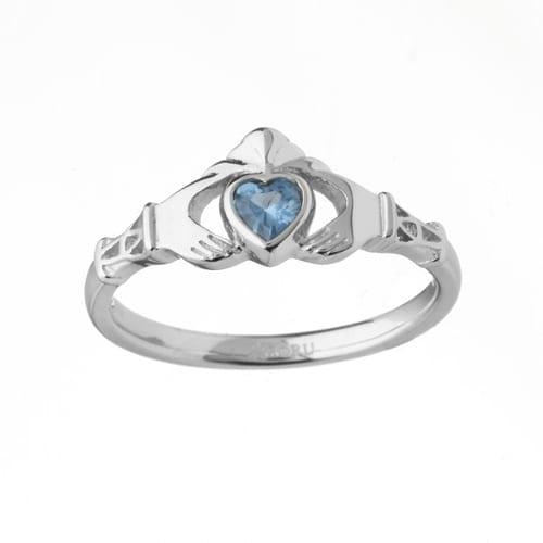 14K White Gold Aquamarine Claddagh Ring