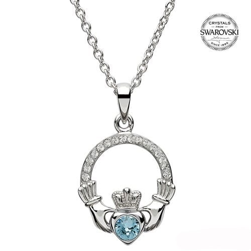 Claddagh March Birthstone Pendant in Sterling Silver