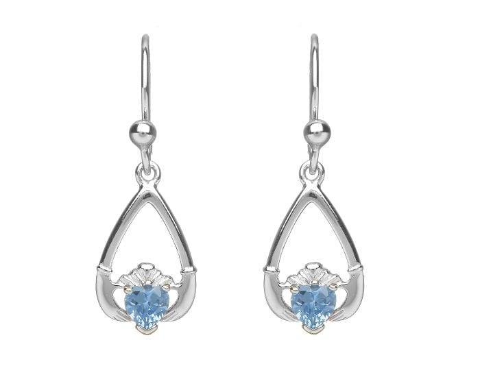 Claddagh March Birthstone Drop Earrings