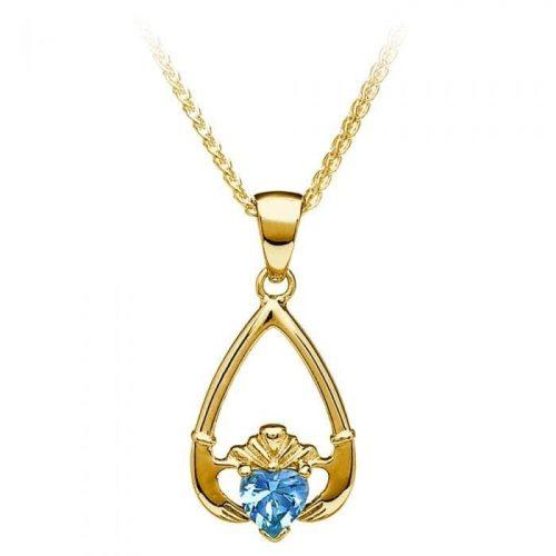 March Claddagh Birthstone Pendant in Gold