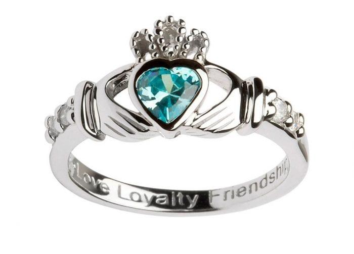 March Claddagh Birthstone Ring Sterling Silver