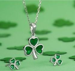 Silver Shamrock with Green Enamel Pendant and Earrings