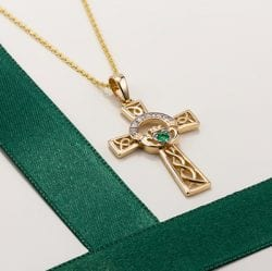 Gold Celtic Cross Pendant With Emerald and Diamond