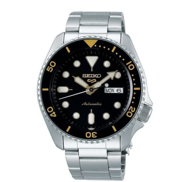 SEIKO 5 AUTOMATIC BLACK DIAL STAINLESS STEEL BRACELET WATCH