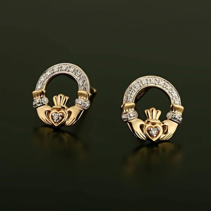 Claddagh Diamond Stud Earrings