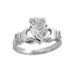Diamond Claddagh Engagement Ring