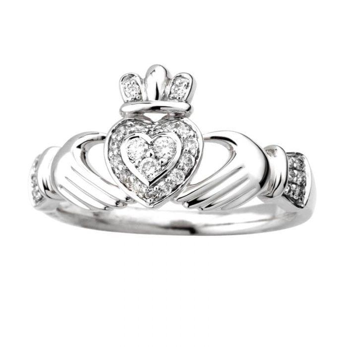 Claddagh White Gold Diamond Ring